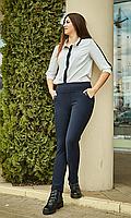 Зимние брюки увеличенных размеров на байке №1827(синие)