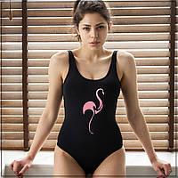 """Слитный купальник с печатью """"Фламинго"""" Черный, фото 1"""