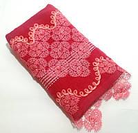 Махровое полотенце для лица 50*90 см. с кружевом и бусинками Турция Красный