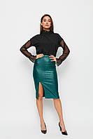 Женская зеленая юбка с высокой талией, фото 1