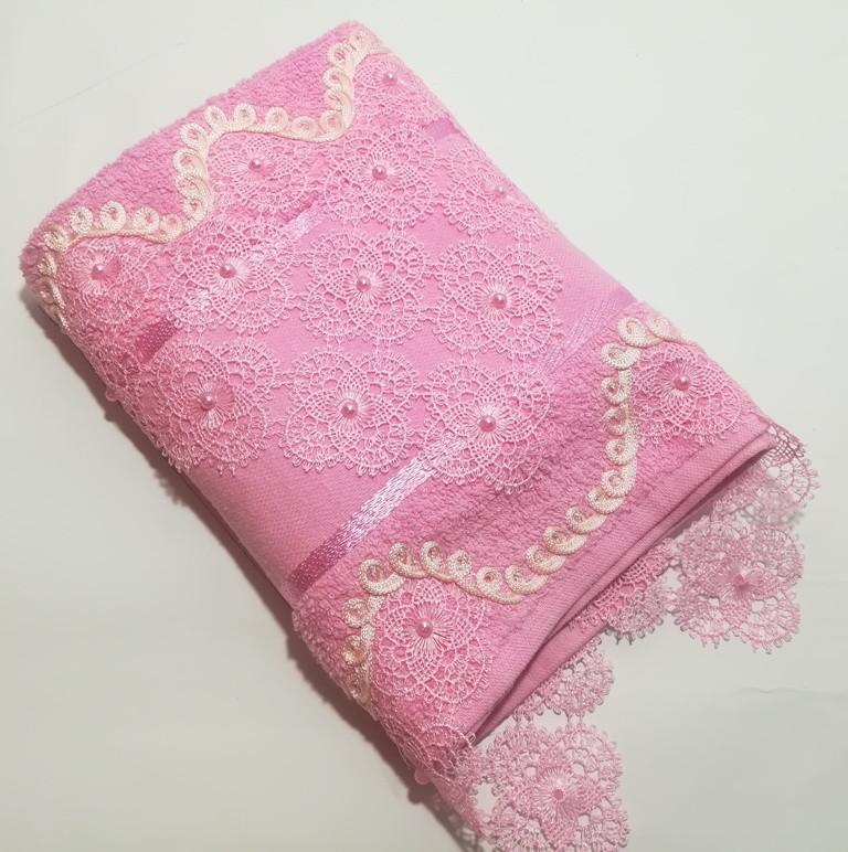 Турецкое полотенце для лица 50x90 см с кружевом и бусинками Розовый