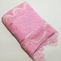 Турецкое полотенце для лица 50*90 см. с кружевом и бусинками Розовый
