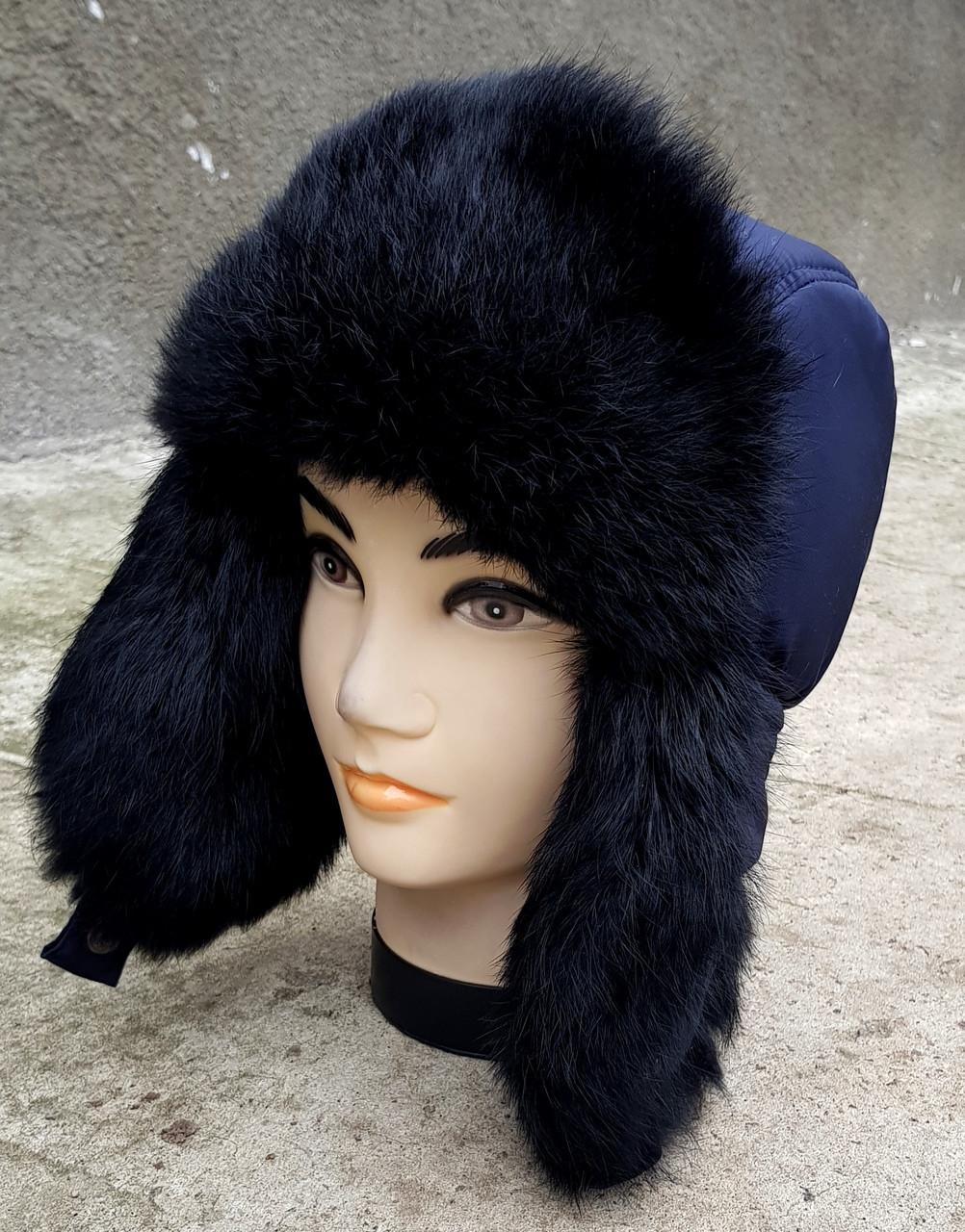 Зимняя мужская шапка-ушанка Klaus Spartak XL(58-60) синяя с черным  (09/32)