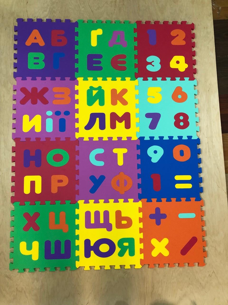 """Детский коврик-пазл  """"Абетка"""" набор 12 штук  из EVA 1,08  м2"""