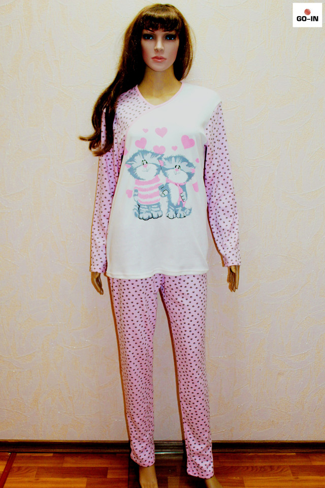 Пижама женская теплая интерлок розовая