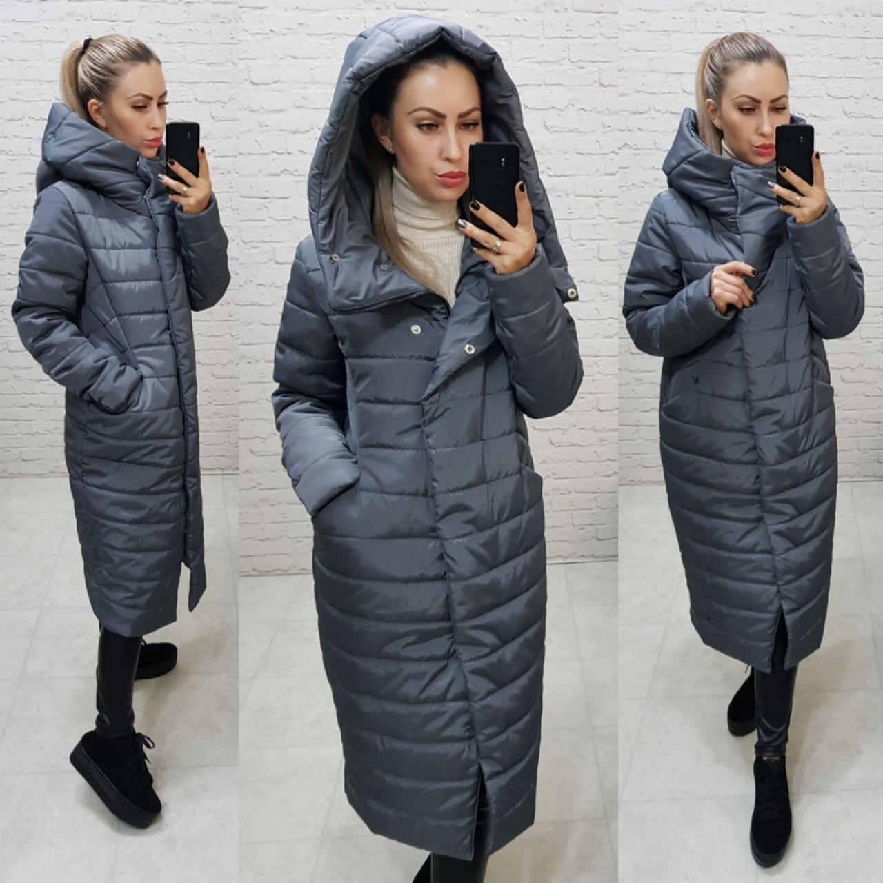 Стьобана зимове пальто-кокон з капюшоном , сірий колір, арт. 180