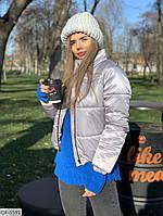 Короткая спортивная зимняя куртка на синтепухе арт  148