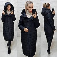 Зимнее пальто-кокон с капюшоном черного цвета, арт. 180, фото 1
