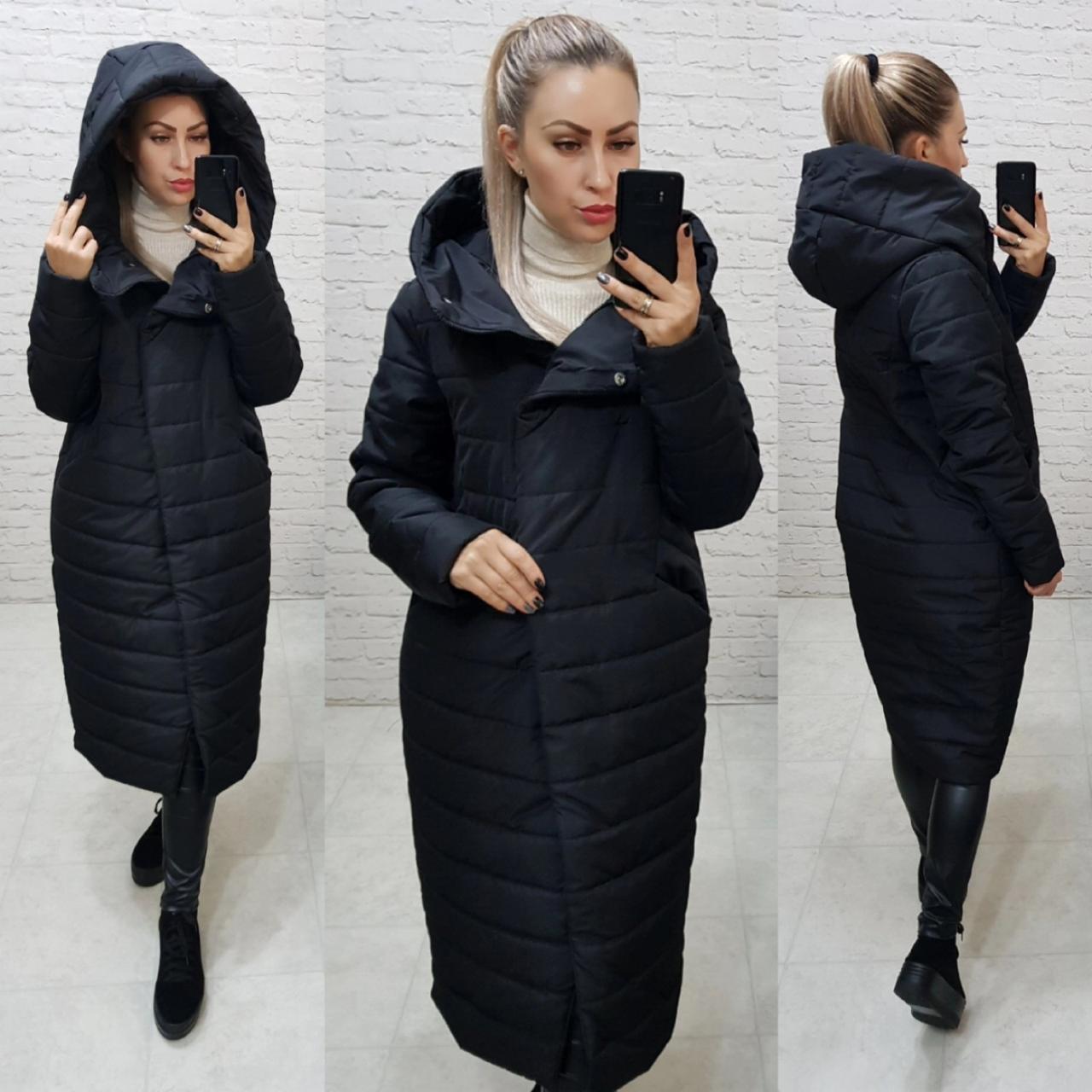 Зимнее пальто-кокон с капюшоном черного цвета, арт. 180