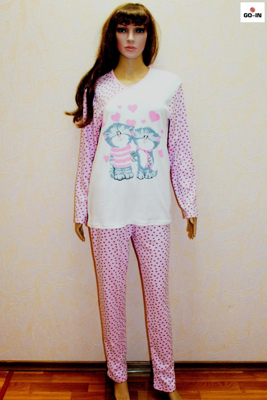 Піжама жіноча тепла рожева інтерлок Котик 46-54р.
