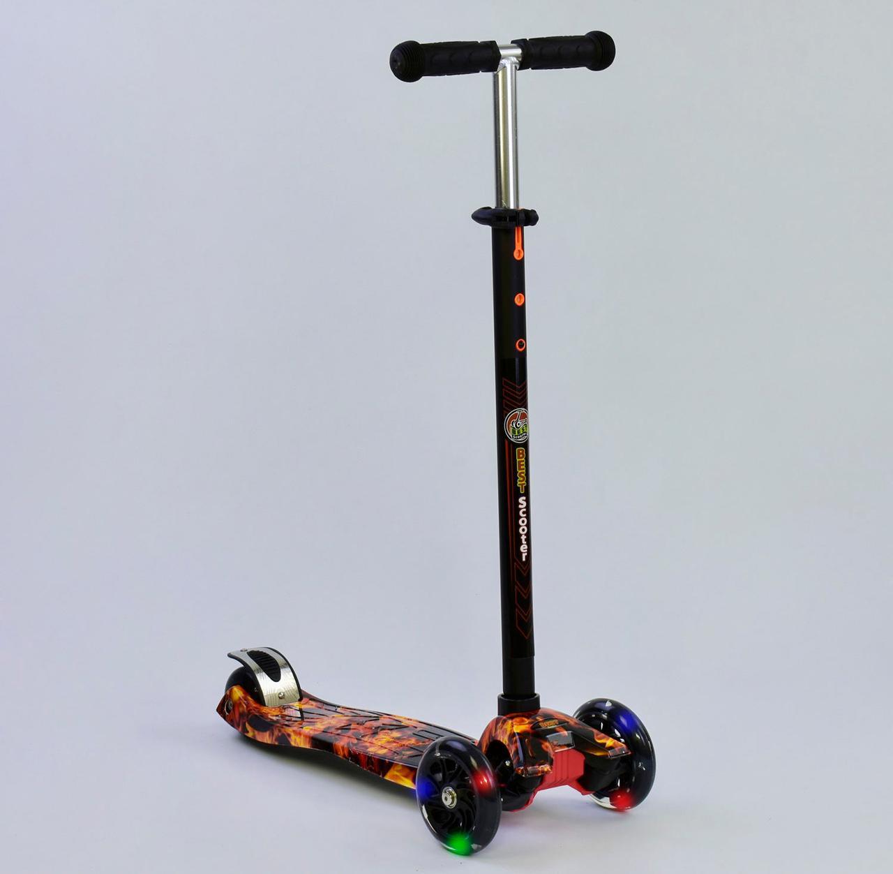 Детский самокат MAXI Best Scooter. Огненый . Светящиеся колеса!