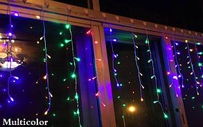 Новогодняя гирлянда бахрома разноцветного свечения Xmas Мультиколор 120 LED 3,5*0,45 м (прозрачный провод), фото 2