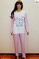 Пижама женская голубая теплая в горошек 46-54р.