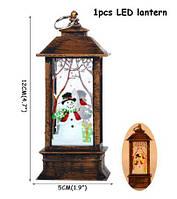 Фонарик декоративный Рождественский Снеговик Бронзовый, фото 1