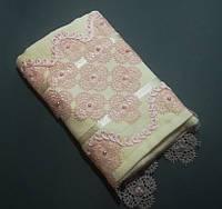 Полотенце махровое 50*90 см. с кружевом и бусинками Турция Розовый