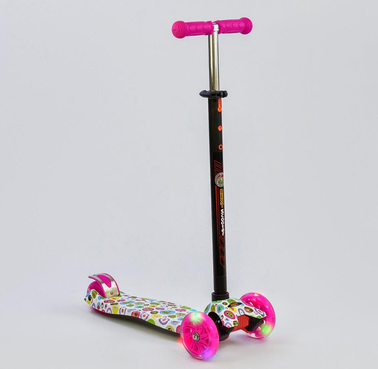Детский самокат MAXI Best Scooter. Зверюшки . Светящиеся колеса!