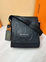 Кожаная мужская сумка Giorgio Armani Армани черная