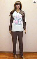 Женская пижама начес с накатом коричневая 46-56 р.