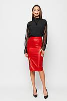Красная женская юбка с разрезом спереди, фото 1