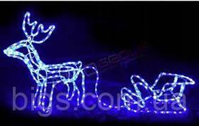 Гирлянда олень с санками светодиодный синяя