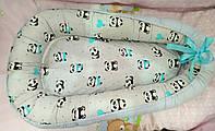 Кокон - гнездышко для новорожденного мальчика. Панда  (цвет серый, голубой)
