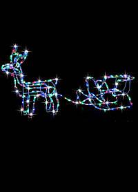 Гирлянда олень с санками светодиодный разноцветная
