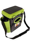 Ящик односекционный Fish Box Helios 10 л для зимней рыбалки зеленого/оранжевого цвета, фото 1