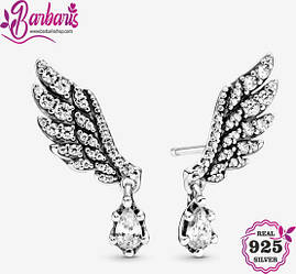 Серьги-пусеты «Крылья ангела с подвесками»