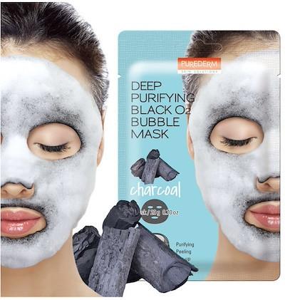 Пузырьковая кислородная тканевая маска Purederm Black O2 Bubble Mask Charcoal