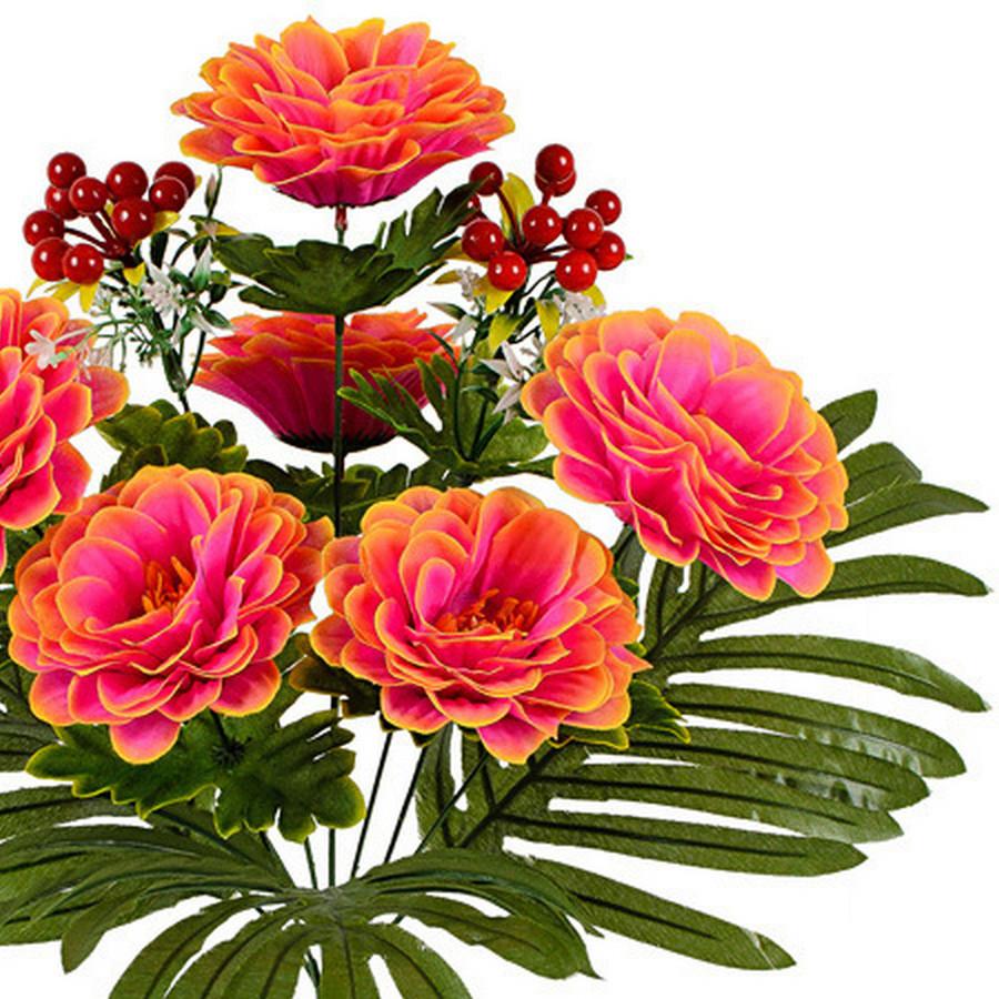Букет хризантеми з калиною, 51см (10 шт в уп)