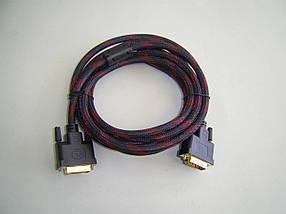 Кабель DVI (папа/папа) 3м черно-красная оплетка (2 феррита)