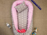 Кокон - гнездышко для новорожденной девочки. Зведочка (цвет серый, розовый)