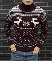 Мужской свитер с оленями бордовый теплый под горло