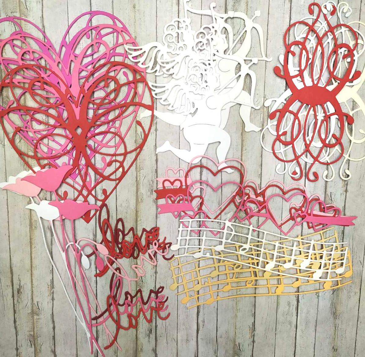 """Набор вырубки из плотного картона """"Любовь"""", 24 элементов"""