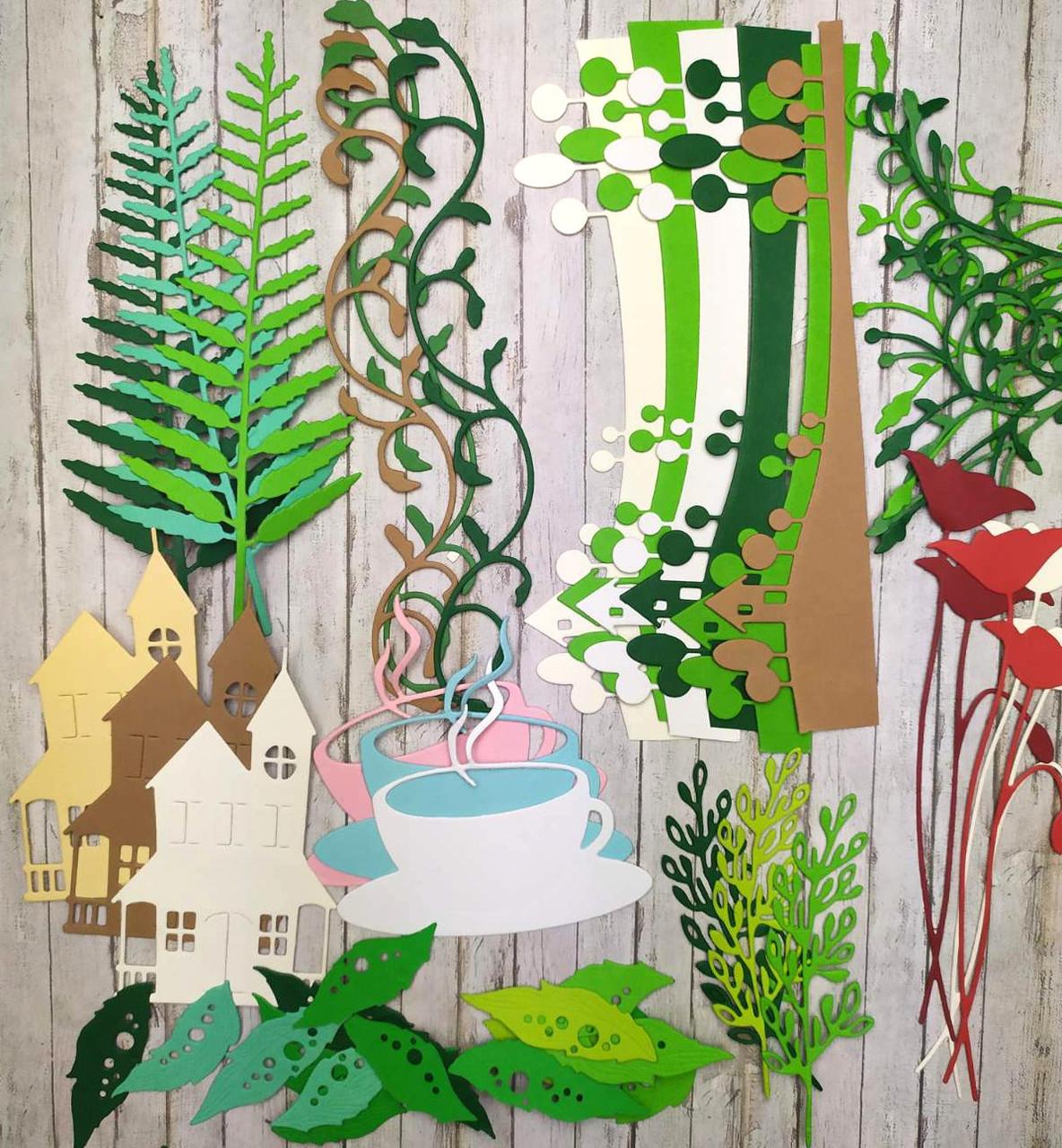 """Набор вырубки из плотного картона """"Растения 3"""", более 40 элементов"""