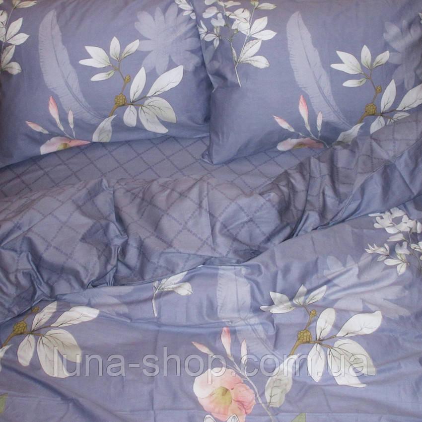 Постельный комплект из сатина Цветы на синем, хлопок 100%