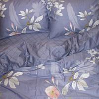 Постільний комплект з сатину Квіти на синьому, бавовна 100%