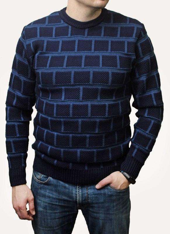 """Стильный мужской удобный свитер больших размеров в клетку """"Colin"""" - 50-52, 54-56, 56-58, 58-60"""