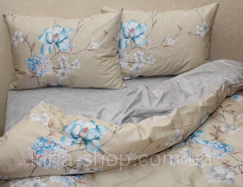 Постельный комплект из сатина Цветы голубые,  хлопок 100%