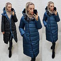 Куртка двустороняя евро-зима  с капюшоном арт. 1007аквамарин/черный  1007, фото 1