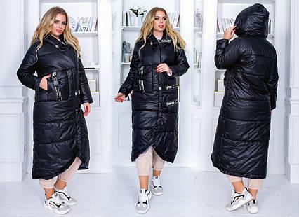 """Длинное зимнее женское пальто на силиконе до больших размеров 469 """"Ленты Фастон"""" в расцветках"""
