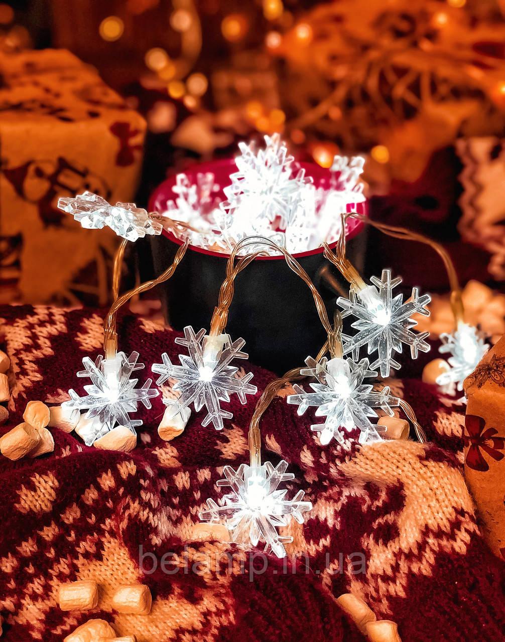 Новогодняя гирлянда от батареек «Яркие снежинки»