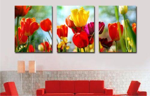 Картина по номерам 50х150см Babylon Turbo Разноцветные тюльпаны