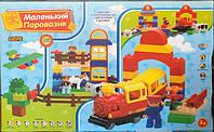 Конструктор для самых маленьких Jixin 6188 А Железная дорога, аналог Lego Duplo, красный поезд, 110 деталей