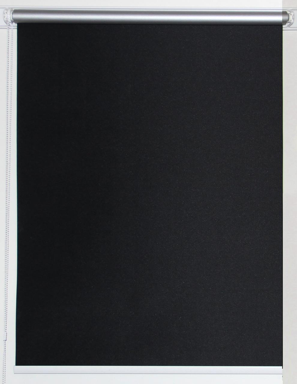 Рулонная штора 650*1500 Блэкаут Сильвер Чёрный