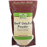 Now Foods, Real Food, Порошок желатина из говяжьих костей, 1 фунт 454 г, официальный сайт
