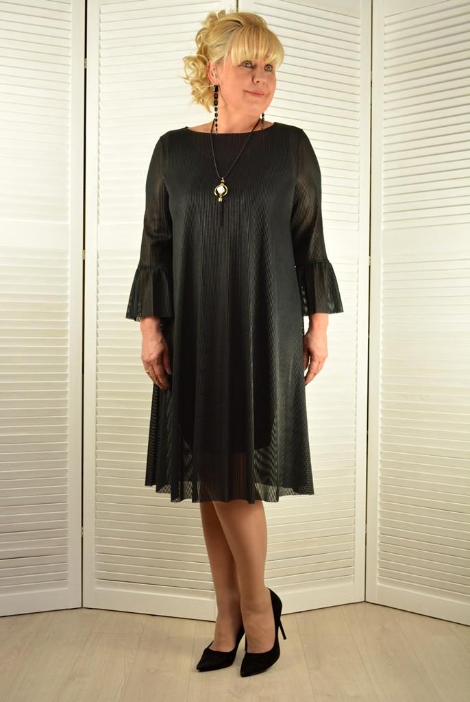 Платье черное гофре + украшение - Модель Л637