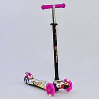 Самокат MAXI Best Scooter Цветы розовый со светящимися колесами