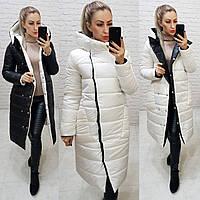 Куртка двустороняя евро-зима  с капюшоном арт. 1007 молочный/ черный  1007, фото 1