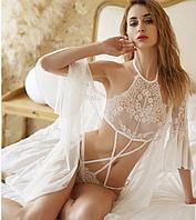 Нежный, сексуальный  белый набор с халатиком, размер S-М, фото 1